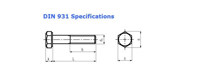استاندارد ابعادی پیچ شش گوش نیم دنده DIN931